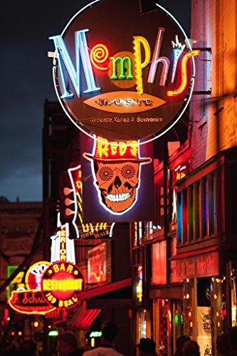 Illuminated Bar Signs on Beale Street Memphis Photo Art Print Poster 12x18