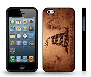 Don't Tread On Me, Grunge Look With Snake Design Snap-on Cover Hard Carrying Case for iPhone 5/5S (Black) by runtopwell