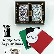 Kem Jacquard Burgundy/Green Narrow Size Regular Index 100% Plastic Playing Cards with Free Dealer Button, 4 Fr
