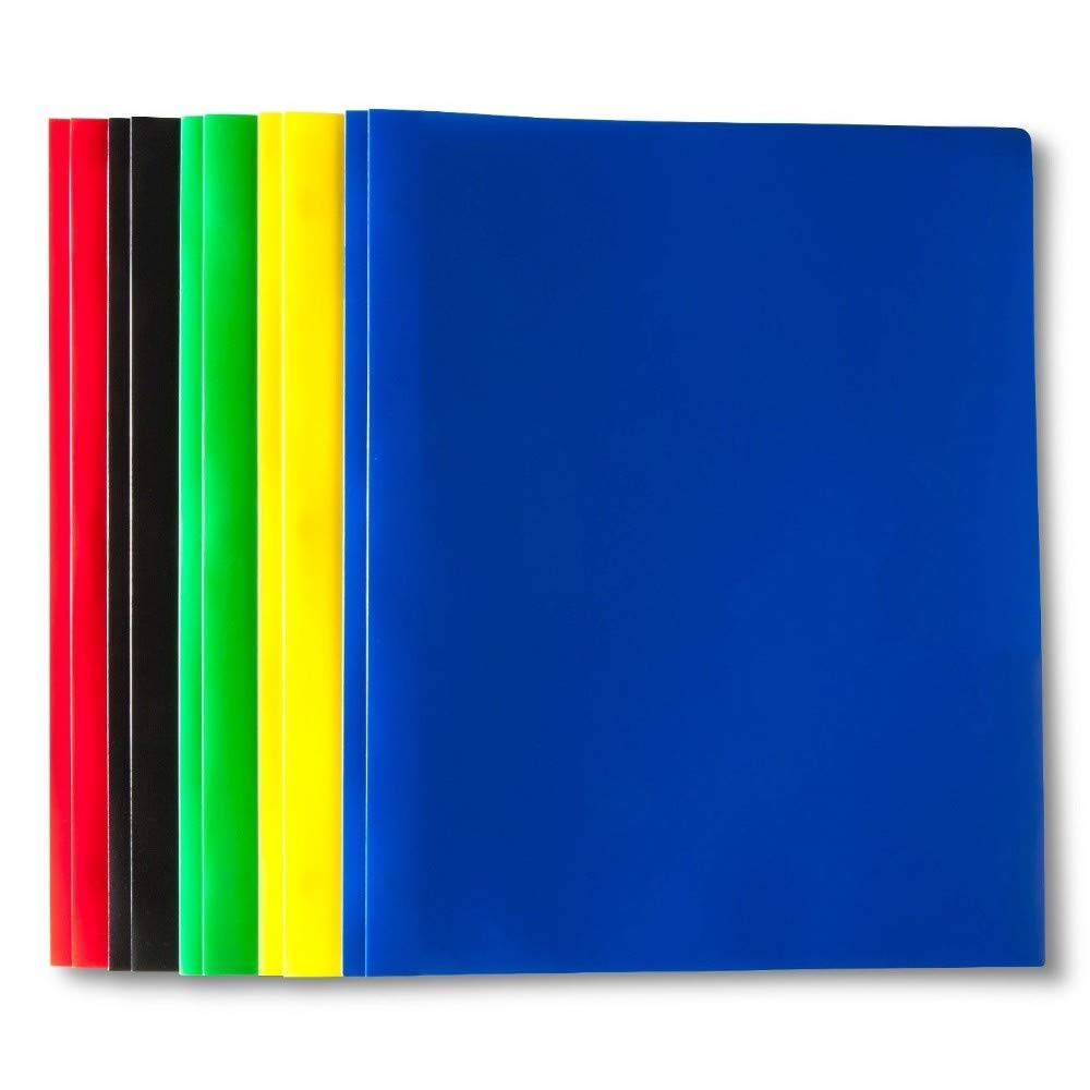 5 Pack 2-Pocket Poly portfolios with prongs Office/School Supplies Folders by Empower Elegance