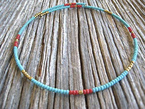 Multicolor Memory Wire Handmade Beaded Choker Necklace ()