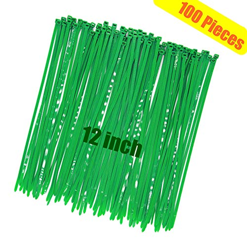 Heavy Duty Strong 12 Inch 100 Pieces Dark Green Cable Zip Ties, Upgrade Durable 50 LBS Fastening Artificial Greenery Plant, Handheld Tree Color Electric Cord Management Wire Zip Ties, Garden Plant Tie