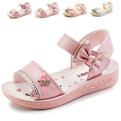 Sawimlgy US Kids Girls Open Toe Summer Sandals with Bow Glitter Princess Dress Outdoor School Holiday Shoes,8 -