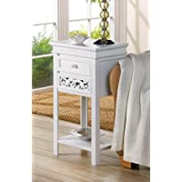 Fleur De Lis Double Drawer Shabby Chic Accent Side End Table Night Stand