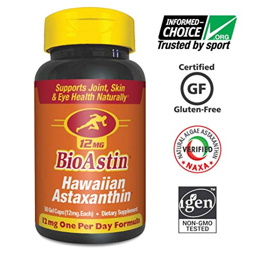 BioAstin Hawaiian Astaxanthin 12mg, 50ct - Hawaiian Grown Premium Antioxidant - Supports Recovery from Exercise + Joint, Skin, Eye Health Naturally from NUTREX HAWAII