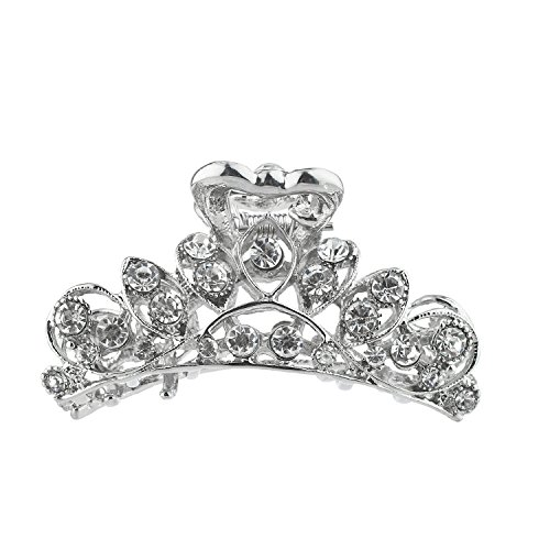 Lux Accessories Silver Tone Rhinestone Filigree Hair Claw Clip Hair Accessories