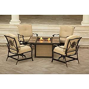 Hanover TRADTILE5PCFP Traditions Aluminum Rust-Free Outdoor Patio Fire Pit Lounge Set (5 Piece), Natural Oat/Antique Bronze