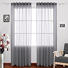 Deconovo Rod Pocket Sheer Curtains Faux Linen Look Sheer Window Curtains for Living Room 52 W x 84 L Inch One Pair Grey