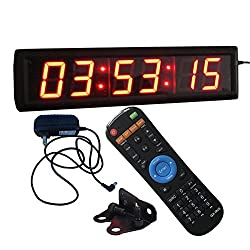 Ledgital Wall Clock 2.3 High Character 6 Red Digits LED Digital Clock 12/24-Hour Display Real Time Clock Support Countdown/up Function in Hours Minutes Seconds IR Remote Control