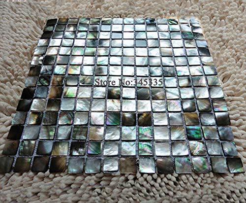 (FidgetKute Black Lip Shell Mosaic Tile Mother of Pearl Kitchen Shower Decoravtive)