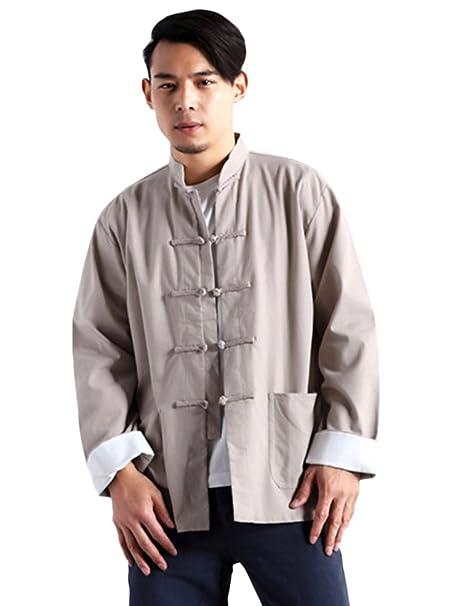 Idopy Hombres Chino Tradicional de Algodón de Lino Tai Chi Kung FU Mandarín Cuello Camisa de Botón de Rana: Amazon.es: Ropa y accesorios