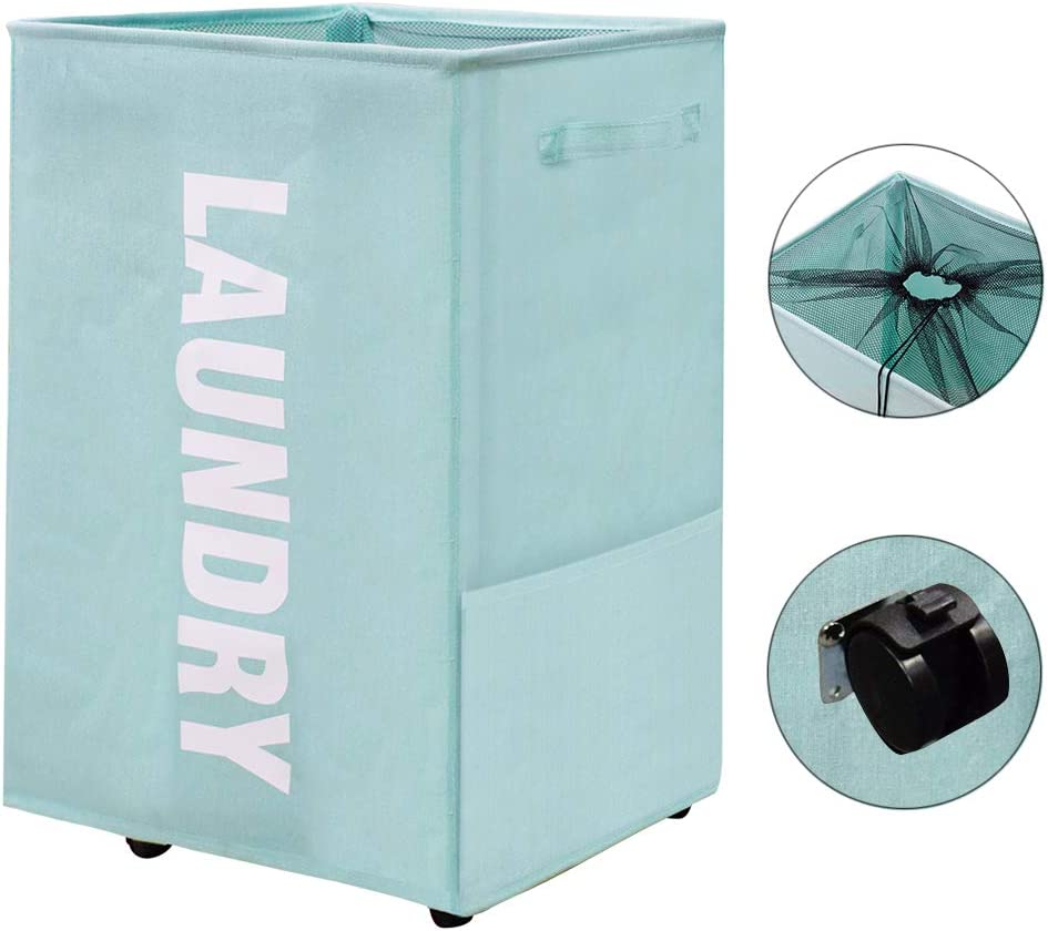 homyfort Laundry Hamper, Laundry Basket with Wheels and 2 Handle, Collapsible Travel Laundry Bag with Mesh Cover, Foldable Clothes Organizer, Folding Washing Bin (Blue)