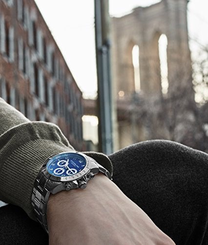 Blue Quartz Chronograph Mens Watch by Stuhrling Original. Solid Stainless Steel Watch Bracelet Watch Band Deployant Clasp. 50 Meter Water Resistant. Stylish gift watches for men. by Stuhrling Original (Image #4)