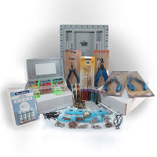 Jewelry Making Bead Kit Adult All in One Beading Supplies and Storage Box, Glass Beads, Pliers, Findings, Wire, Gift Set for Beginner or Advanced