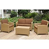 International Caravan 4-Piece Lisbon Resin Wicker and Steel Settee Set with Cushions in Honey