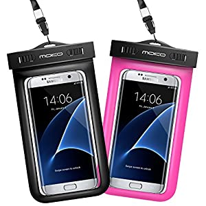 Universal Waterproof Case [2-Pack], MoKo CellPhone Dry Bag Pouch with Armband & Strap for iPhone 7 Plus, 6S/5S/SE, Galaxy S8 Plus, S8/S6/S7 Edge, S5, LG, BLU & More - BLACK + MAGENTA