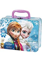 Disney Frozen Puzzle in Tin Box with Handle (48-piece) + 24 Frozen Stickers