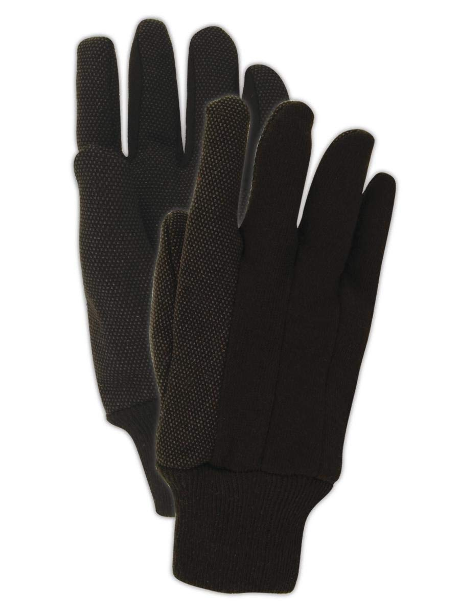 12 Pairs Dark Brown Magid Safety T92P MultiMaster Glove Large PVC Dotted Jersey Gloves