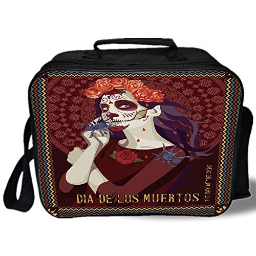 Day Of The Dead Decor 3D Print Insulated Lunch Bag,Dia de los Muertos Print Woman with Calavera Makeup Spanish Rose Art,for Work/School/Picnic,Burgundy (Dia De Los Muertos At The Pearl)