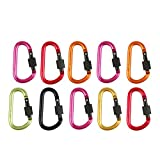 HonYan 10PCS 3''/8CM Aluminum Locking Carabiners (holds up to 5KN, that's 1100 pounds of force!) Keychain Spring Clip Lock Carabiner Hook Outdoor Camping Equipment (Random Colors)