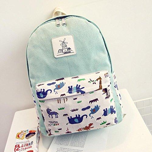 Clode® Mochila Casual ligero lienzo patrón Animal PC portátil escolar mochila para chicas adolescentes Verde