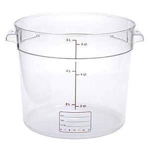 Carlisle 1076507 StorPlus Polycarbonate Round Food Storage Container, 6 Quart, Clear