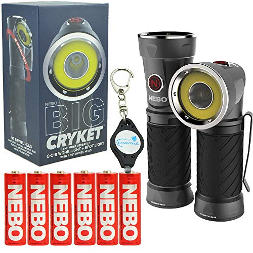 NEBO Big Cryket 300 Lumen LED Flashlight Work Light (3 AA Batteries Included) Bundle with 3 Extra Nebo AA Batteries and Lumintrail Keychain Light