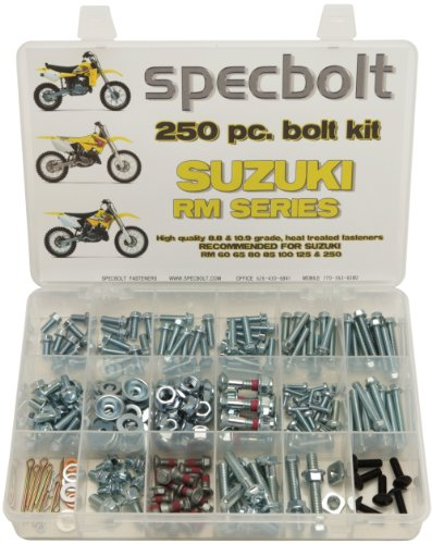 250pc Specbolt Suzuki RM two stroke Bolt Kit for Maintenance & Restoration of MX Dirtbike OEM Spec Fastener RM60 RM65 RM80 RM85 RM100 RM125 RM250 - Levers Bolt Kit