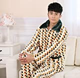 LJ&L Long Sleeve Thick Coral Velvet Couple Breathable Pajamas Set Comfortable Bathrobe Fashion Pajamas,Men,XXL