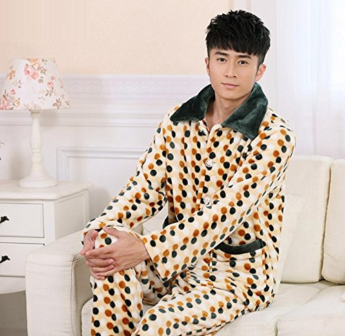 LJ&L Long Sleeve Thick Coral Velvet Couple Breathable Pajamas Set Comfortable Bathrobe Fashion Pajamas,Men,XXL by LIUJIANGLONG