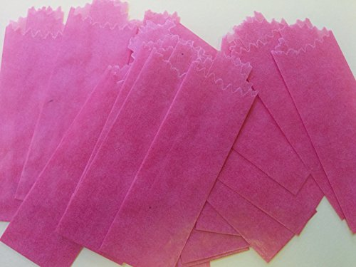 (Vellum Glassine Stamp Wax Paper Envelope Bags, Colors & Designs, Small, 20mm/22mm (Pink, 100 Bags))
