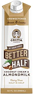 product image for Califia Farms - Unsweetened Better Half Coffee Creamer, 32 Oz (Pack of 6) | Half and Half | Coconut Cream and Almond Milk | Non Dairy | Plant Based | Keto | Sugar Free | Zero Carb | Shelf Stable