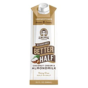Califia Farms - Unsweetened Better Half Coffee Creamer, 32 Oz (Pack of 6) | Half and Half | Coconut Cream and Almond Milk | Non Dairy | Plant Based | Keto | Sugar Free | Zero Carb | Shelf Stable