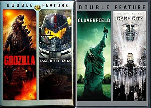Action Horror 4-Movie Bundle Godzilla, Pacific Rim, Cloverfield & Dark City (Director's Cut) Double Features DVD Bundle ()