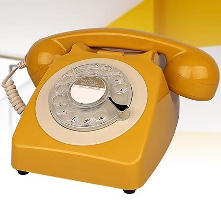 ZYFA Teléfono Fijo Tocadiscos, teléfono Retro Giratorio, Timbre de ...