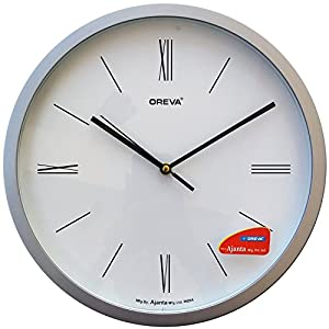Oreva Roman Figure Round Plastic Analog Wall Clock (28 cm x 28 cm x 3.9 cm, Silver, AQ-1457)