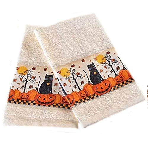 The Lakeside Collection Set of 2 Black Cat Halloween Hand Towels ()