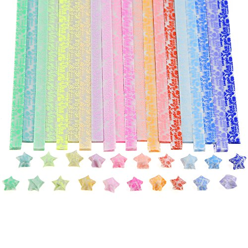 Origami Stars Papers Package DIY Paper 600 Sheets 20 Colors Glows in The Dark