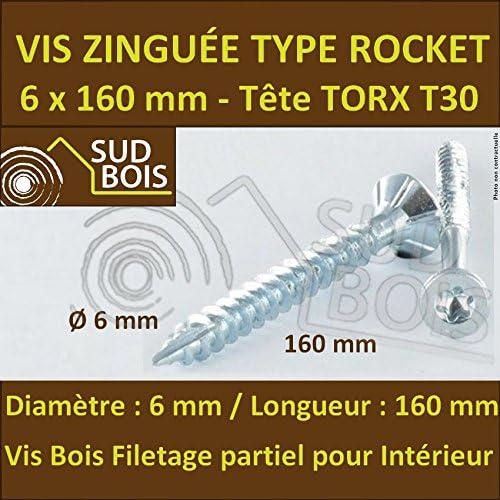 100 Vis Bois 6x160 TORX T30 Zingu/ée Pointe Anti-Fendage type Rocket
