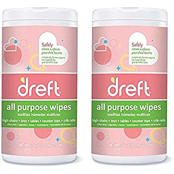 Dreft Multi-Surface All-Purpose Gentle Cleaning Wipes for Baby Toys, Car Seat, High Chair & More, 70 Count (2pack)