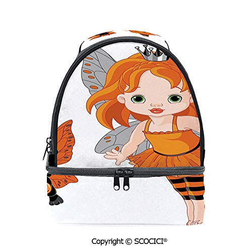 SCOCICI Large Capacity Durable Material Lunch Box Halloween Baby Fairy and Her Cat in Costumes Butterflies Girls Kids Room Decor Decorative Multipurpose Adjustable Lunch Bag -