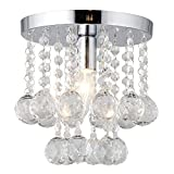 Mini Style 8'' Flush Mount Crystal Light Bedroom Washroom Bathroom Kitchen