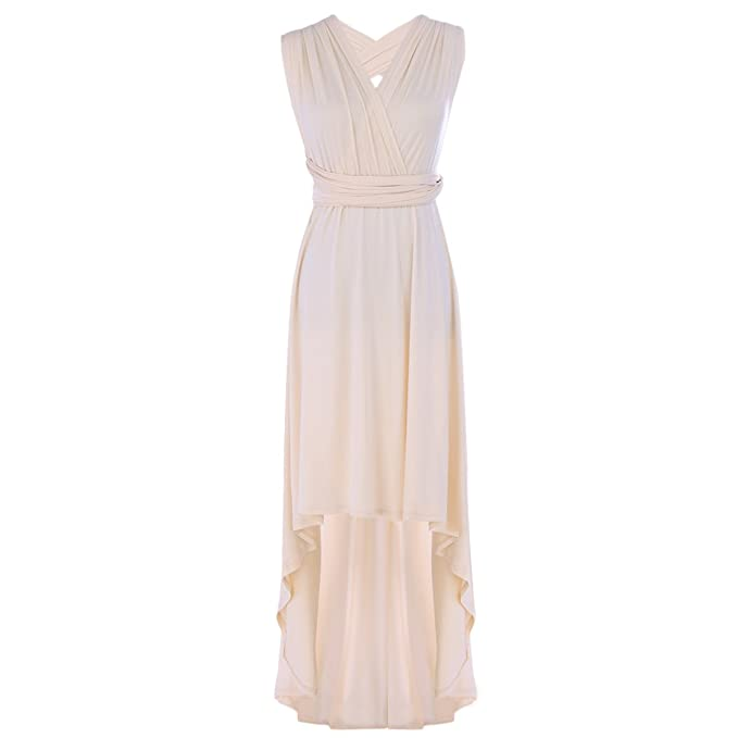 1e7c5659116 FYMNSI Women Bridesmaid Dress Convertible Multi Way Wrap Wedding Evening  High Low Dress Sleeveless Backless Bandage
