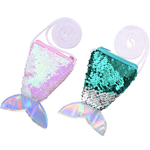 CHIC DIARY Sequins Hologram Mermaid Tail Coin Purse Mini Travel Crossbody Shoulder Bag for Little Girls (Pink+Green) ()