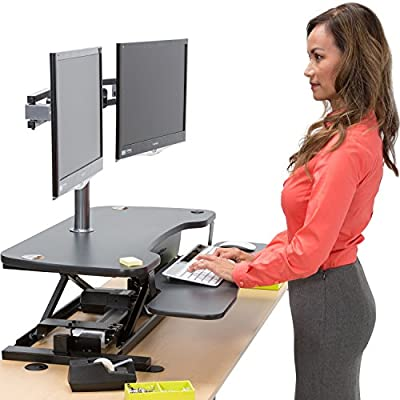 "30"" Electric Standing Desk Converter Adjustable Desk Riser With Keyboard Tray and Dual Monitor Grommet - Convert Your Desk to a Sit-To-Stand Ergonomic Workstation"