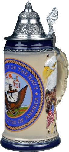Beer Stein by King - US Navy Coat of Arms Relie German Beer Stein (Beer Mug) .75l - Glasses Navy Issued