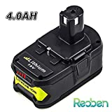 P108 4.0Ah Replace for Ryobi 18V Battery Lithium One Plus P107 P102 P103 P104 P105 P100 Cordless Power Tools