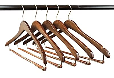 Quality Hangers Wooden Hangers Beautiful Sturdy Suit Coat Hangers with Locking Bar Gold Hooks