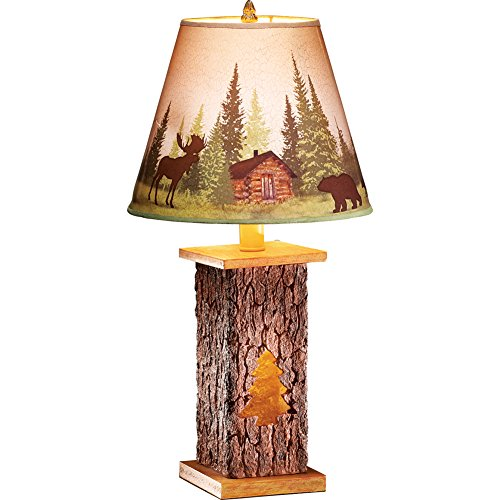 Northwoods Cabin Pine Tree Scene Tabletop Tree Trunk Lamp, Charming Lodge Decor with Moose and Bears (Cabin Decor Northwoods)