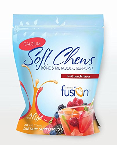 Bariatric Fusion Calcium & Energy Soft Chew Fruit Punch Flavor for Gastric Bypass and Sleeve Gastrectomy, 60 Count